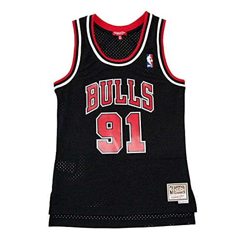 Mitchell & Ness Dennis Rodman #91 Chicago Bulls 1997-98 Swingman NBA Trikot Schwarz (Damen), XL