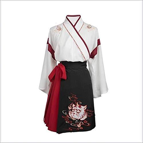 JINPENGRAN Disfraz de Rendimiento de Mujeres Hanfu, Traje Antiguo, Falda de Manga Corta, Hadas Elegantes,L