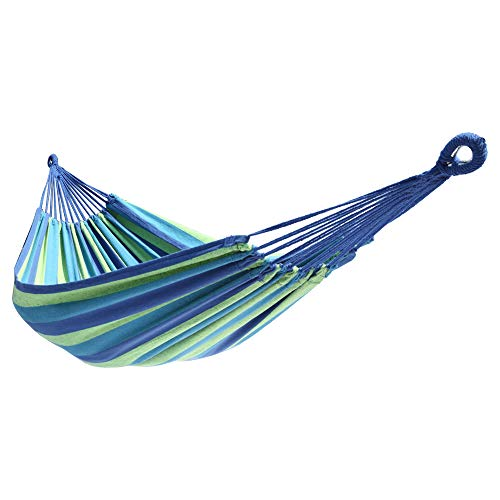 Double Cotton Hammock Garden Camping Hammock 200150cm, Portable Hammock ? Perfect for Camping & Outdoors or Gardens and Travel (Blue & Green Strip)