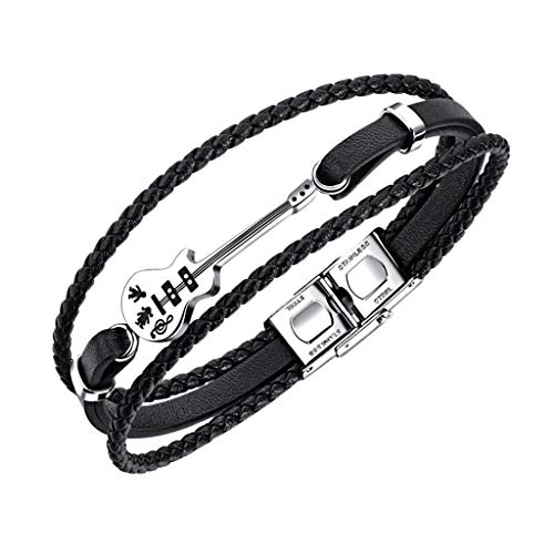 Fineday Men's Leather Bracelet Guitar Bracelet Multilayer Bracelet with Magnetic Clasp, Bracelets, Jewelry & Watches for Christmas Day (C)