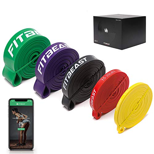 FitBeast Bande Elastici Fitness [5 Elastici trazioni] con Ancoraggio per Porta, Pad di Protezione per Le Mani, per Stretching, Allenamenti di Resistenza, Potenziamento Muscolare, per Uomini e Donne