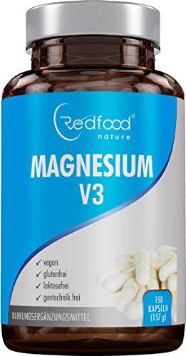 Magnesium V3 Kapseln • 150 Kapseln (5 Monatsvorrat) 300mg elementares Magnesium vegan • Magnesium-Carbonat + Magnesium-Citrat + Magnesium • Oxid-Beste Bioverfügbarkeit ohne Magnesiumstearat