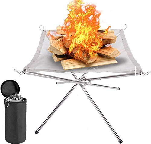 SAKUUMI Portable Fire Pit, Foldable Camping Fire Pit with Carry Bag Extra Large 22inch Stainless Steel Mesh Firepit Collapsing Outdoor Fireplace for Camping Outdoor Backyard Garden Patios Beach Travel