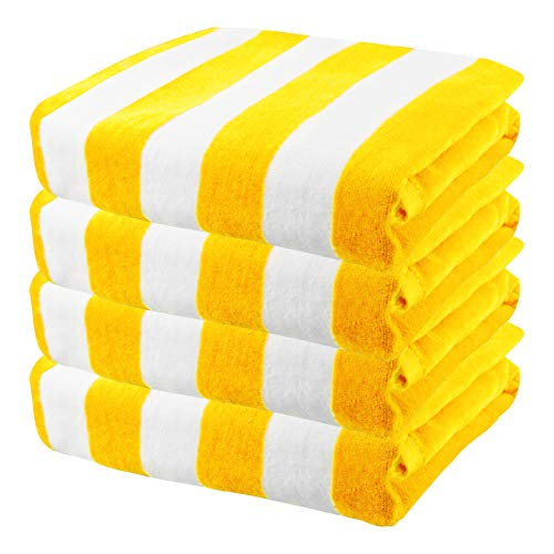 Exclusivo Mezcla 4 Pack 100% Cotton Oversized Large Beach Towel,Pool Towel (Cabana Stripe,Yellow 35