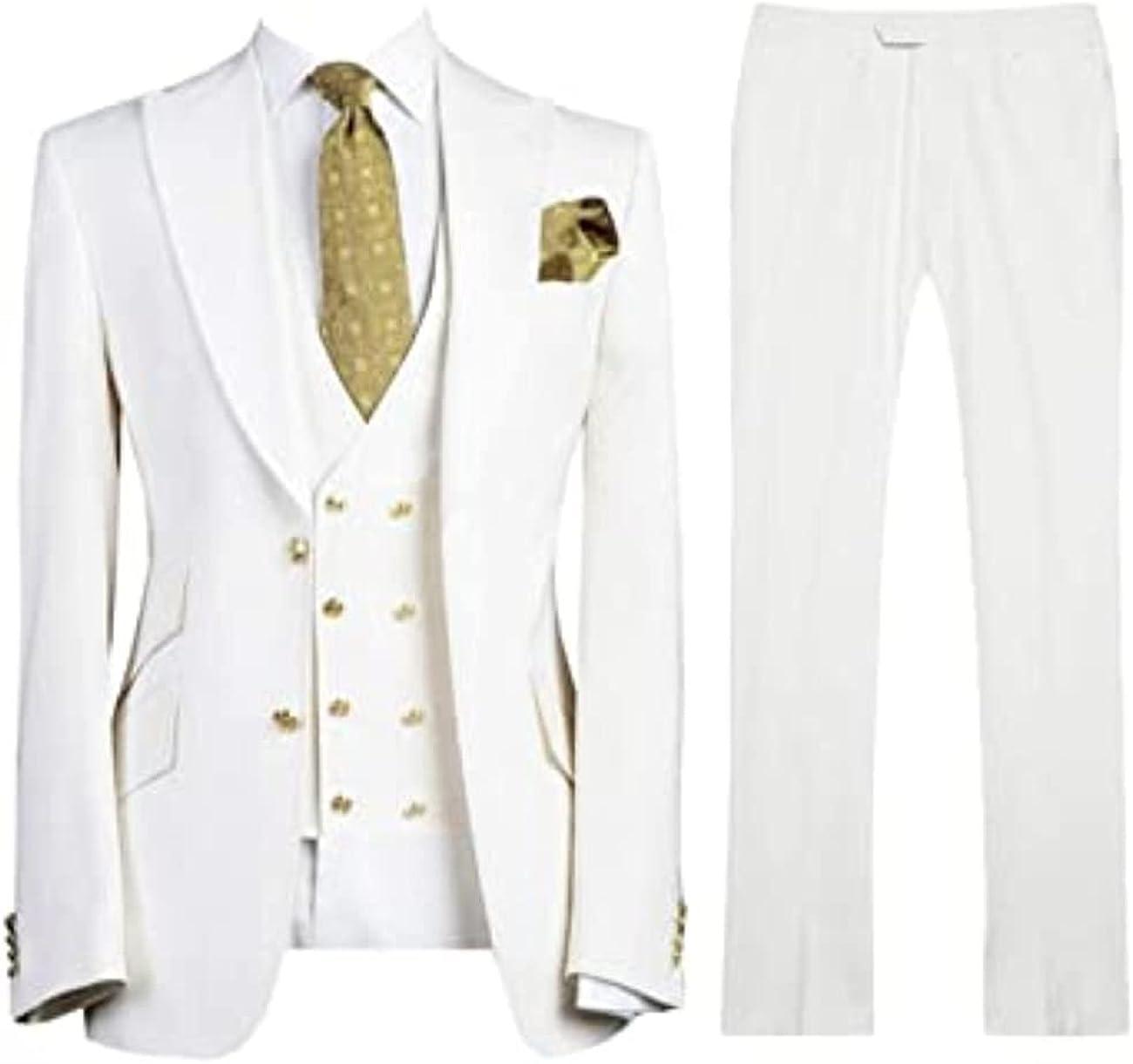 Men's Fashion 3 Pieces Set Slim Fit Jacket Suits for Men Groom Wedding Tuxedos