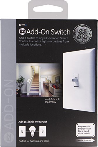 GE 12728 Enbrighten AddOn Z-Wave & Zigbee Smart Lighting Control, Works with Alexa, Google Assistant, SmartThings, 1st Gen. NOT A STANDALONE SWITCH Toggle.Add, White 1-pack