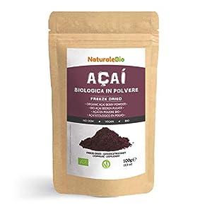 Bayas de Acai Orgánico en Polvo [Freeze - Dried] 100g. Pure Acaí Berry Powder Extracto crudo de la pulpa de la baya de açaí liofilizado. 100% Bio cultivado en Brasil. Superalimento Ecológico.