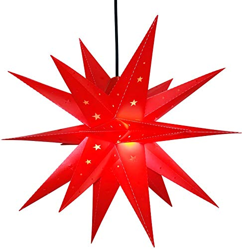 Christmas Star Lights Tree Topper - Hanging Star Light No Assembly Required–Perfect Use as Holiday Decorations Outdoor or Indoor,Porch Light, Advent (LED -Battery 23 Inch) Qijieda-Red