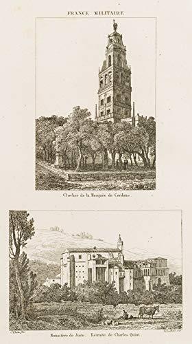 H. W. Fichter Kunsthandel: Unbek./BOULLINIER (19. Jh.), Kathedrale von Córdoba & Kloster von Yuste, Rad.