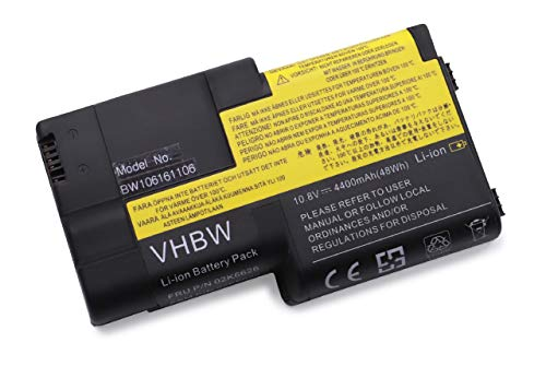vhbw Batterie Compatible avec IBM ThinkPad T20, T21, T22, T23, T24 Laptop (4400mAh, 11,1V, Li-ION, Noir)