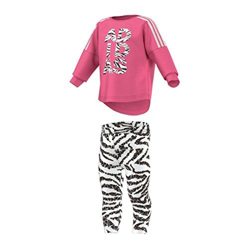 adidas - Camiseta - Animal Print - Redondo - para bebé niña Blanco White & Pink Talla:12-18 Meses