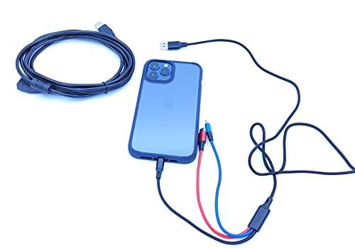 Cable USB tres en uno mas alargador USB 3 metros (Pack) Multi Cable de Carga, Nylon Multi USB Cargador Cable Múltiples Micro USB Tipo C para Android Galaxy, Huawei Extensión USB Tipo A Macho A Hembra