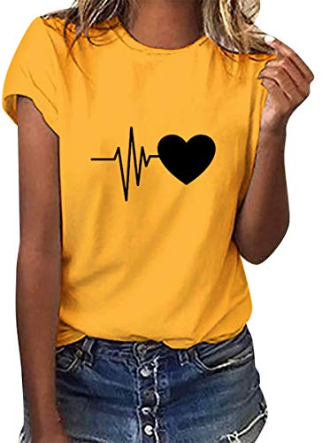 Voqeen Camiseta de Manga Corta tee para Mujer ECG Corazón Estampado Casual Adolescentes Niñas Camiseta Pullover Blusa De Verano Camisetas De Tirantes