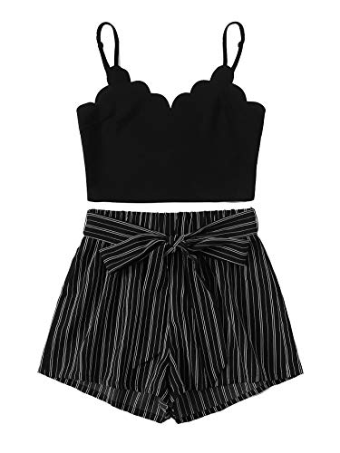 MakeMeChic Women's 2 Piece Outfit Summer Striped V Neck Crop Cami Top with Shorts Black#1 M