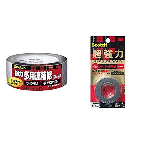 スコッチ 超強力両面テープ プレミアゴールド スーパー多用途 粗面用 19mm×1.5m KPR-19