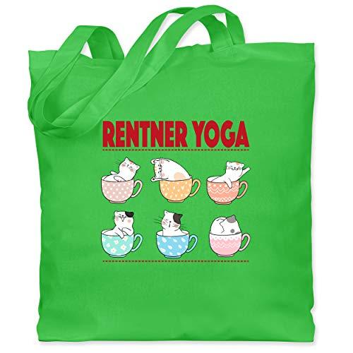 Shirtracer Statement - Rentner Yoga Katzen in Tassen - Unisize - Hellgrün - jutebeutel ruhestand - WM101 - Stoffbeutel aus Baumwolle Jutebeutel lange Henkel