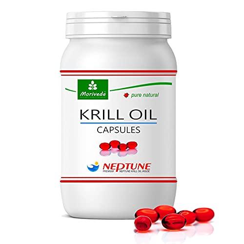 MoriVeda - Olio di krill capsule 90 o 270, premio olio NEPTUNE puro al 100% - omega 3,6,9 astaxantina, fosfolipidi, colina, vitamina E - qualità del marchio di MoriVeda (1x90 Capsule)