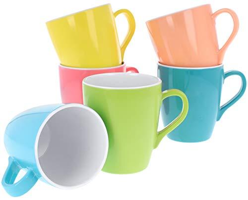 com-four® 6x Mehrweg Trink-Tassen aus Melamin in verschiedenen Farben, perfekt als Geschirr für Party, Camping oder Festival