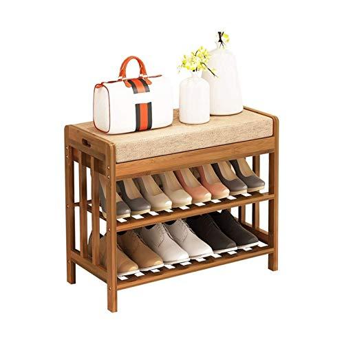 TONGSH Zapatero Banco Estante de Zapatos de Sala de Estar, Puede Sentarse en el gabinete de Zapatos, Taburete de Almacenamiento de Madera Maciza Simple (Size : Long:60cm)