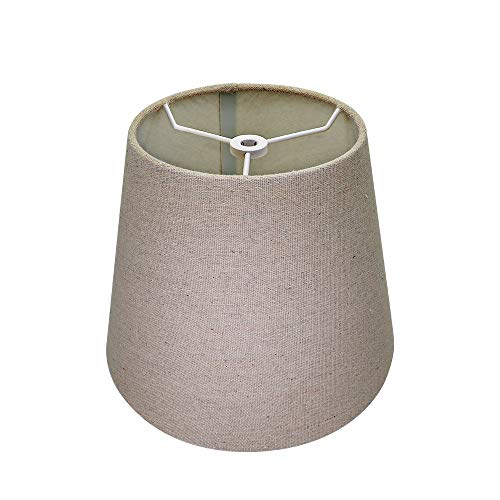 Brown Lamp Shade,Alucset Barrel Fabric Small Lampshade for Table Lamp and Floor Light,6x10x7.5 inch,Natural Linen Hand Crafted,Spider (Brown)