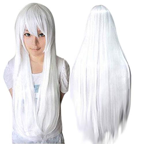 ANOGOL 32inches Long White Wig Straight Synthetic Wigs Lolita White Cosplay Wig