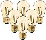 Bombilla LED de filamento vintage, ST45, 1 W, sustituye a bombillas incandescentes de 10 W, luz blanca cálida de 2200K AC 230V E27 base media, cristal dorado, no regulable,6-unidades