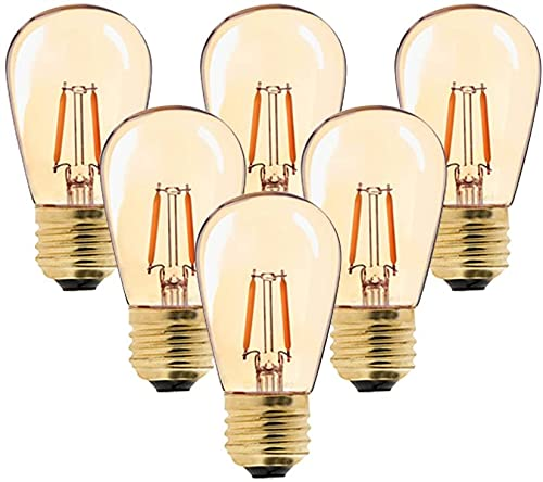 6er-Pack S14 Edison Vintage-1W LED-Glühlampe,2200K Warmweiß,Mittel Schraube E27, getönter Glasbeschichtung,100 Lumen Ersetzt 10 Watt Glühlampen, CRI>90,nicht dimmbar