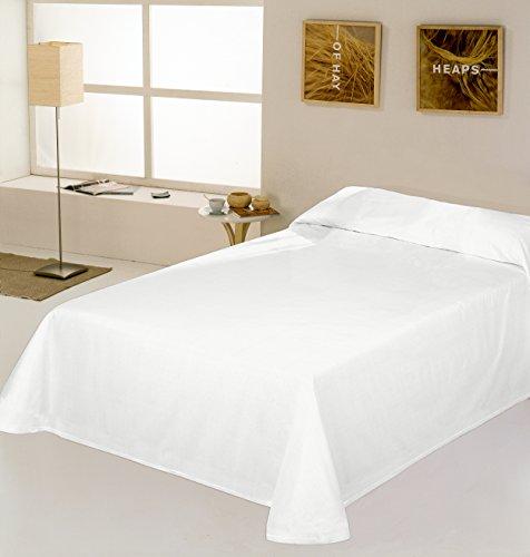 ESTELA - Colcha/Cubrecama RÚSTICO Lisos Color Blanco óptico - Cama de 90 cm. - Hilo Tintado - 50% Algodón/50% Poliéster