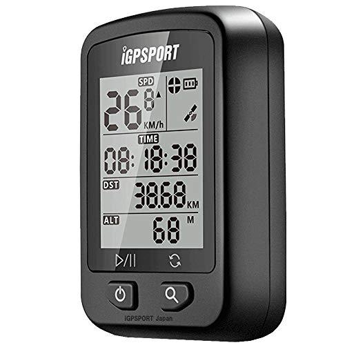GPS サイコン サイクリングコンピュータ 高度計 充電式 IPX6防水 自動バックライト マウント付き iGPSPORT iGS20E 日本語マニュアル STRAVA 連携 (ブラック+マウント)