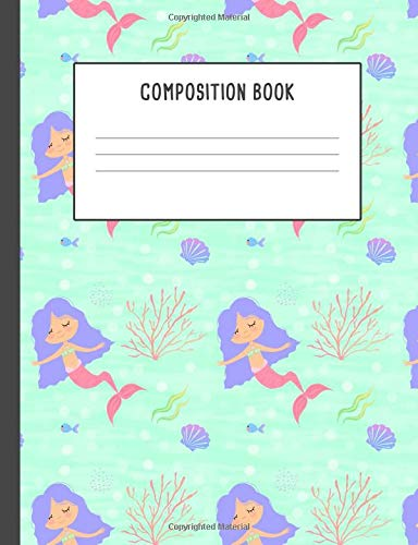 Composition Book: Mermaid Blue Pink Coral, 200 pages College ruled (7.44 x 9.69)