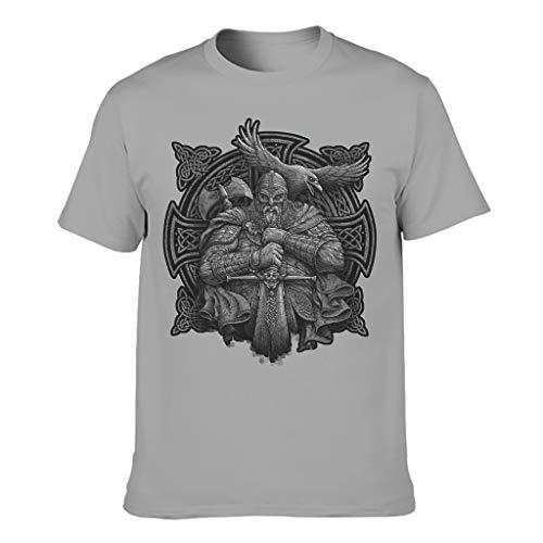 Camiseta de manga corta de algodón para hombre gris L