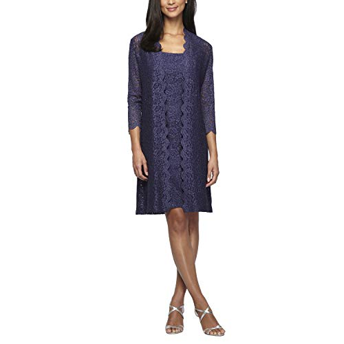 Alex Evenings Women's Long Jacket with Lace Dress (Petite and Regular Sizes), Deep Violet, 8