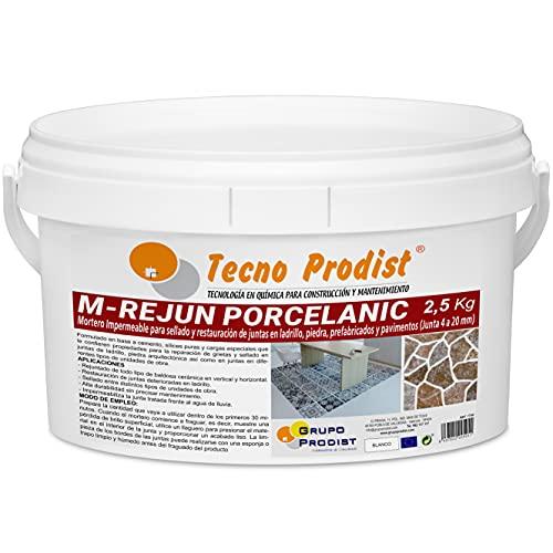 M-REJUN PORCELANIC de Tecno Prodist - (2,5 kg) Mortero impermeable para el sellado y restauración en pavimentos cerámicos, ladrillos, piedra, etc (Junta de 4 a 20mm) Color Blanco