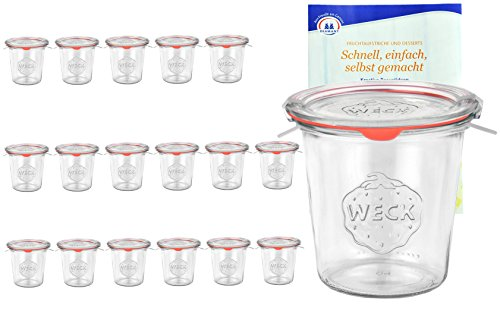 MamboCat 18er Set Weck Gläser 580ml 1/2 Liter Sturzgläser mit 18 Glasdeckeln, 18 Einkochringen und 36 Klammern inkl. Diamant-Zucker Gelierzauber Rezeptheft I Original Weck Sturzgläser