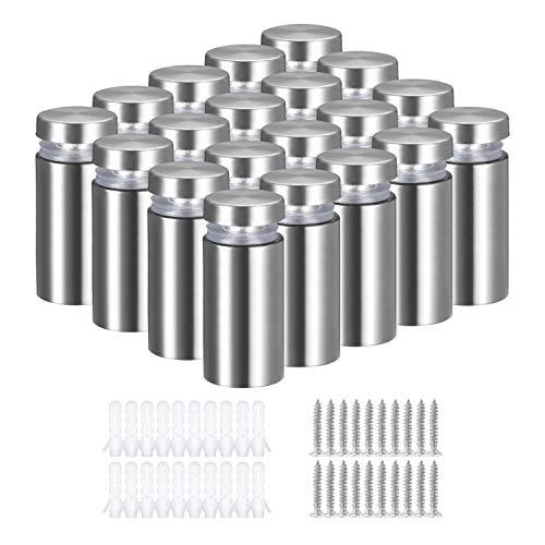 Tusenpy 20 Pcs In acciaio inox Pubblicità Vite di vetro Standoff Bulloni Supporto Vite Segno Pubblicità Chiodi Hardware Supporti Viti Frameless Standoff Clamp Per Vetro (Argento)