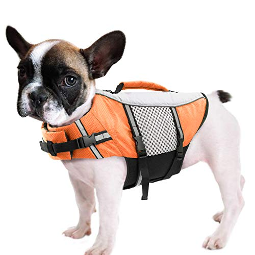 Queenmore Dog Life Jacket Swimming Vest Lightweight High Reflective Pet Lifesaver with Lift Handle,...