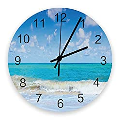 Futuregrace Chic Wooden Wall Clock Battery Operated Non-Ticking 12 Round Wood Clocks, Beach Blue Sky Sea Waves Kitchen Wall Clock for School Bathroom Living Room Home Office Wall Decor
