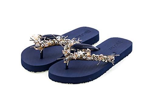 MOO´ILO Damen Sommer Zehentrenner Sandale 'Blue Sting' mit Strass Steinchen und Perlen (handgestickt) - Ultraweiche Strandsandale mit natürlicher