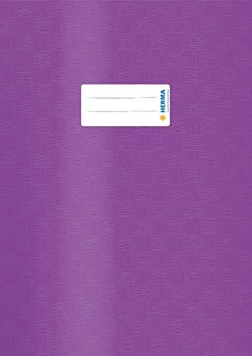 HERMA 7446 Heftumschlag DIN A4 Bast, Hefthüllen mit Beschriftungsetikett und Baststruktur, aus strapazierfähiger und abwischbarer Polypropylen-Folie, Heftschoner für Schulhefte, lila