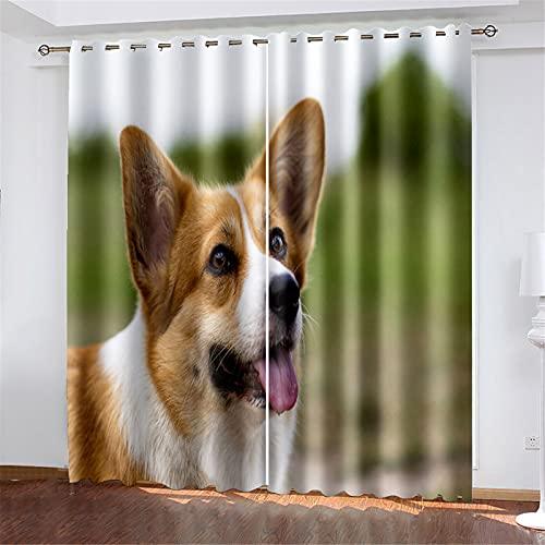 FACWAWF Las Cortinas con Patrón De Perro Impresas En 3D Tienen Buenas Sombras Y Pliegues Ondulados, Adecuadas para Sala De Estar, Dormitorio, Balcón De Estudio 132x160cm(2pcs)