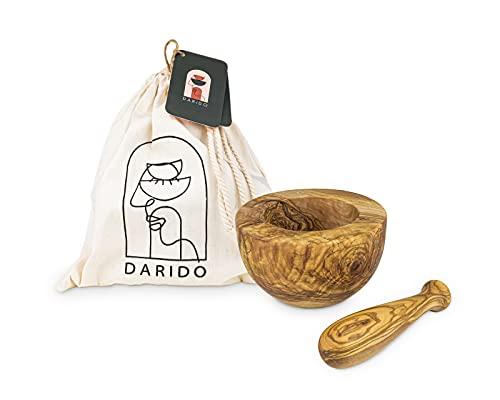 Pestle and Mortar by Darido - Juego de mortero y mortero de madera de olivo - Molinillo de ajo resistente - Trituradora de hierbas, semillas, frutos secos y especias saludables - mortero grande