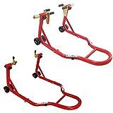 Cruizer - Cavalletti alza moto anteriore con attacchi a pinze e posteriore a forchetta, ruote sottostanti e barre di rinforzo laterali