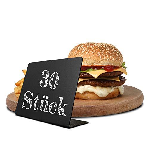 Kreidetafeln zum Beschriften Reserviert Schilder für Gastronomie 30er Set Preisschilder Buffet Schilder Preisaufsteller Klein 76x101mm Mini Tafeln aus Kunststoff