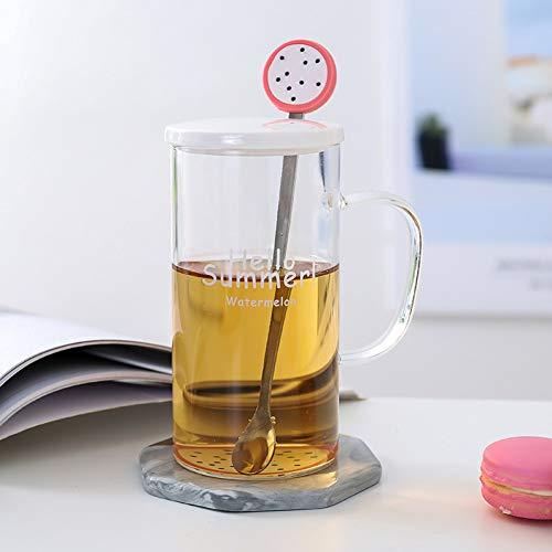 Erjialiu Kaffeetasse 380 ml Mode Glas Porzellan Abdeckung Edelstahl Löffel Frühstück Mit Griff Tasse Transparente Milch Saft Tasse,Drachenfrucht,380 ml