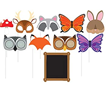 Creative Converting Assorted Photo Booth Forest Animals Party Props  10 Piece