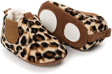 Kfnire zapatos de bebé, botas antideslizantes de invierno zapatillas de suela blanda con forro polar (4.3 inch / 0-6 meses, Leopardo)