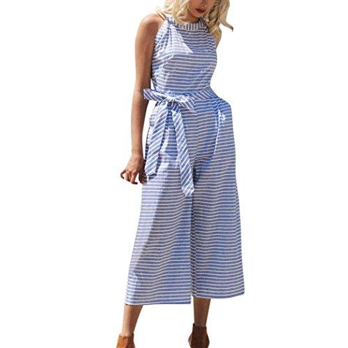 ESAILQ Damen Sommer Elegant Trägerlos Rückenfrei Overall Hose Playuit Jumpsuit Romper Bodysuit Freizeit Spleißen(M,Blau)