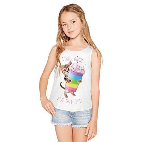 PAOLIAN Camisetas Tirantespara Niñas Manga Cortas Verano 2019 Top TirantesChica Adolescentes Ropa Blusas Vestir Blanca Estampados 7-12 Años