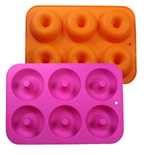 Uarter - Stampo in silicone per ciambelle, antiaderente, per ciambelle, per alimenti, resistente al calore, 6 fori, confezione da 2