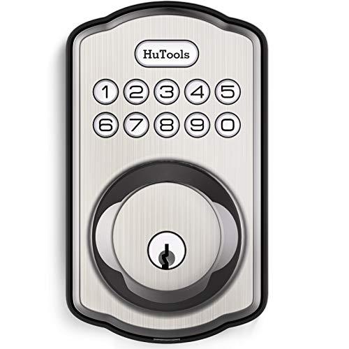 Keyless Entry Door Lock Deadbolt, Hutools Digital Front Gate Locks with Keypads, 20 User Codes, Auto Lock, 1 Push Locking, Satin Nickel